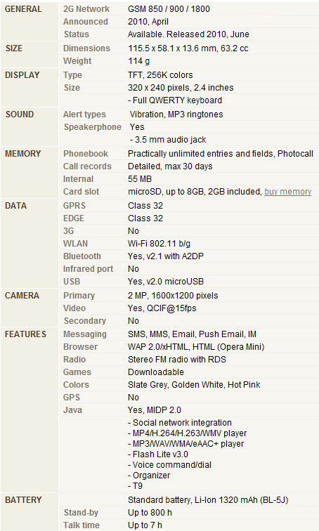 Nokia C3 Spec list